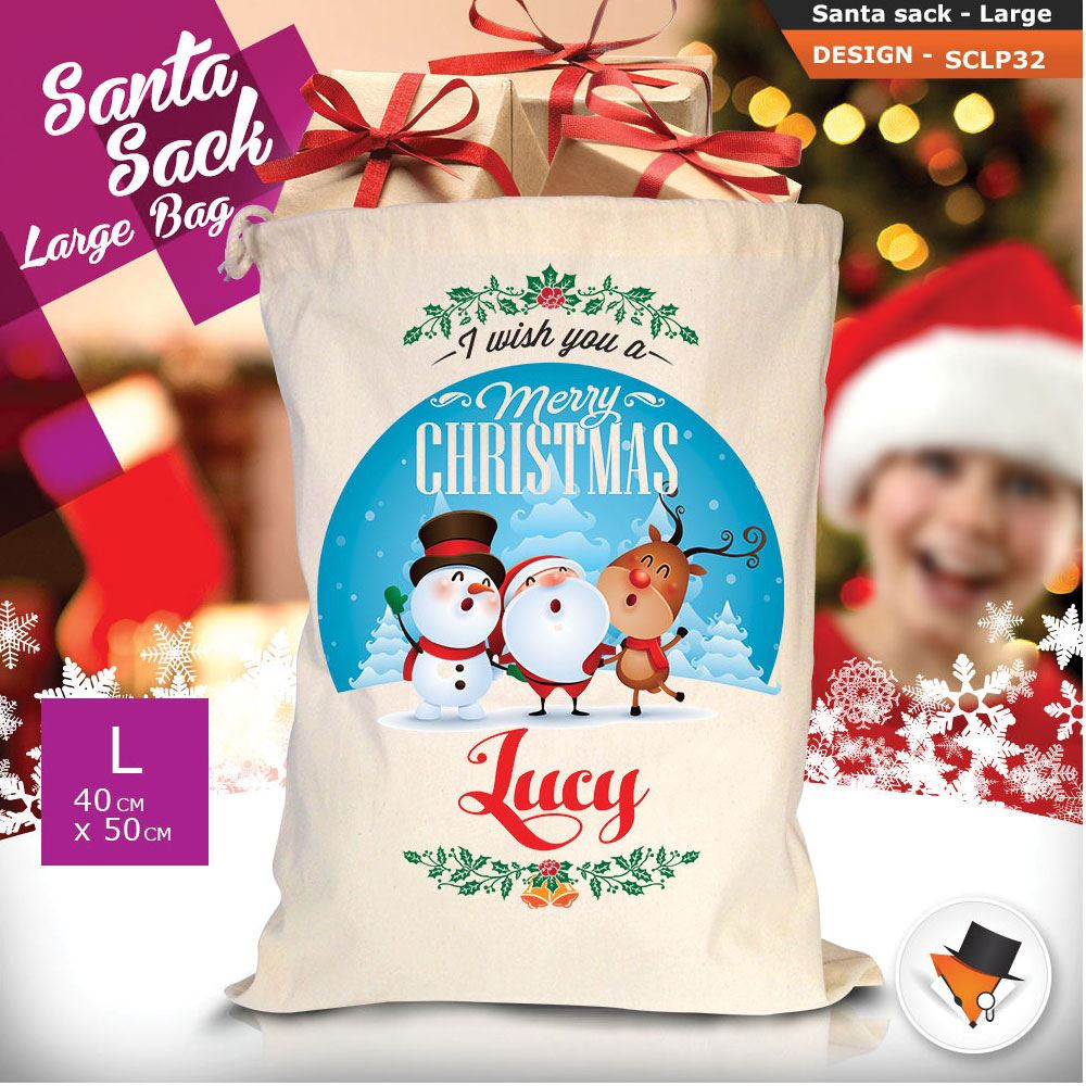 Personalizzato-Per-Bambini-Babbo-Natale-Sacco-Sacchetto-Cartone-Animato-Carina-Renna-Rosso miniatura 84