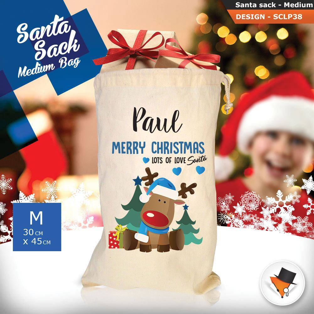 Personalizzato-Per-Bambini-Babbo-Natale-Sacco-Sacchetto-Di-Natale-Renna-Cartone-Animato-Carina-Rosa miniatura 108