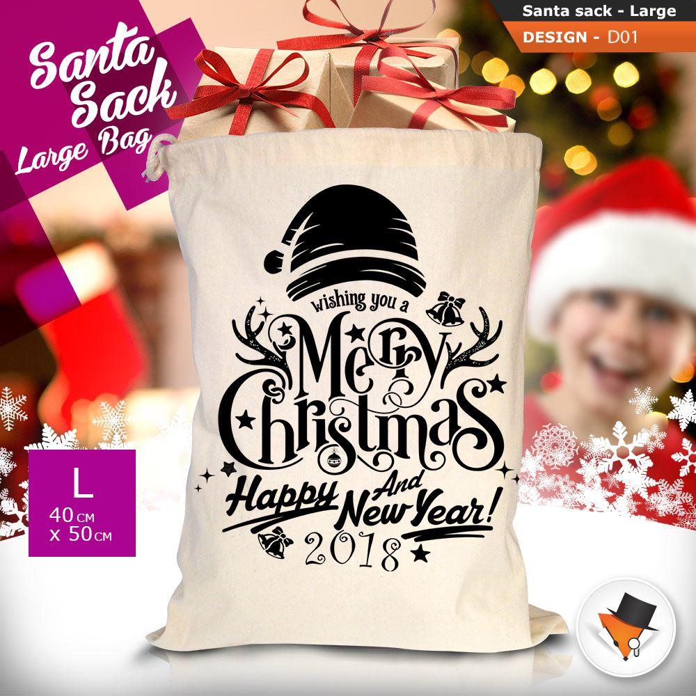 GRANDE-Babbo-Natale-Sacco-Babbo-Natale-Borsa-per-i-REGALI-DONI-NATALE-Calze-Di-Cotone miniatura 3