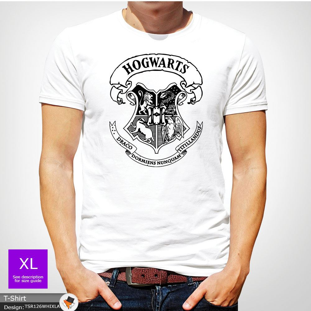Poudlard Harry Potter Crest T-shirt homme ou unisexe toutes tailles cadeau de Noël Gris