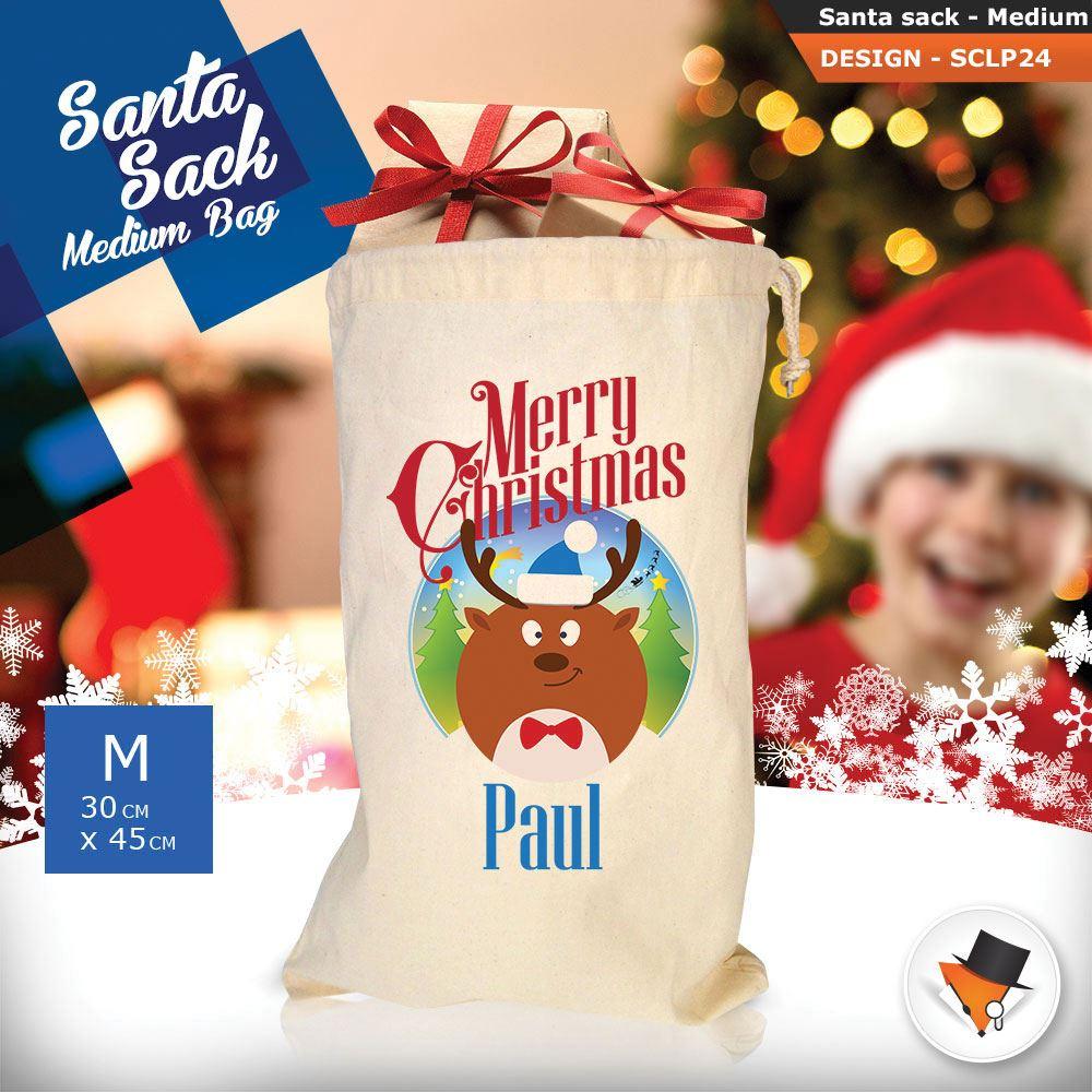 Personalizzato-Per-Bambini-Babbo-Natale-Sacco-Sacchetto-Cartone-Animato-Carina-Renna-Rosso miniatura 53