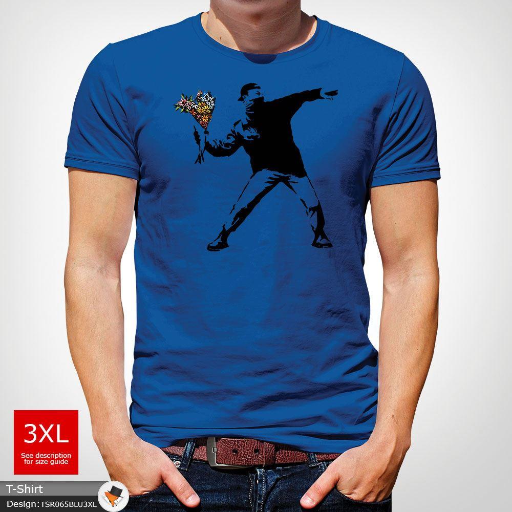 BANKSY-FLOWER-THROWER-STREET-ART-Tshirt-Unisex-T-Shirt-Christmas-Birthday-Blue miniatuur 43