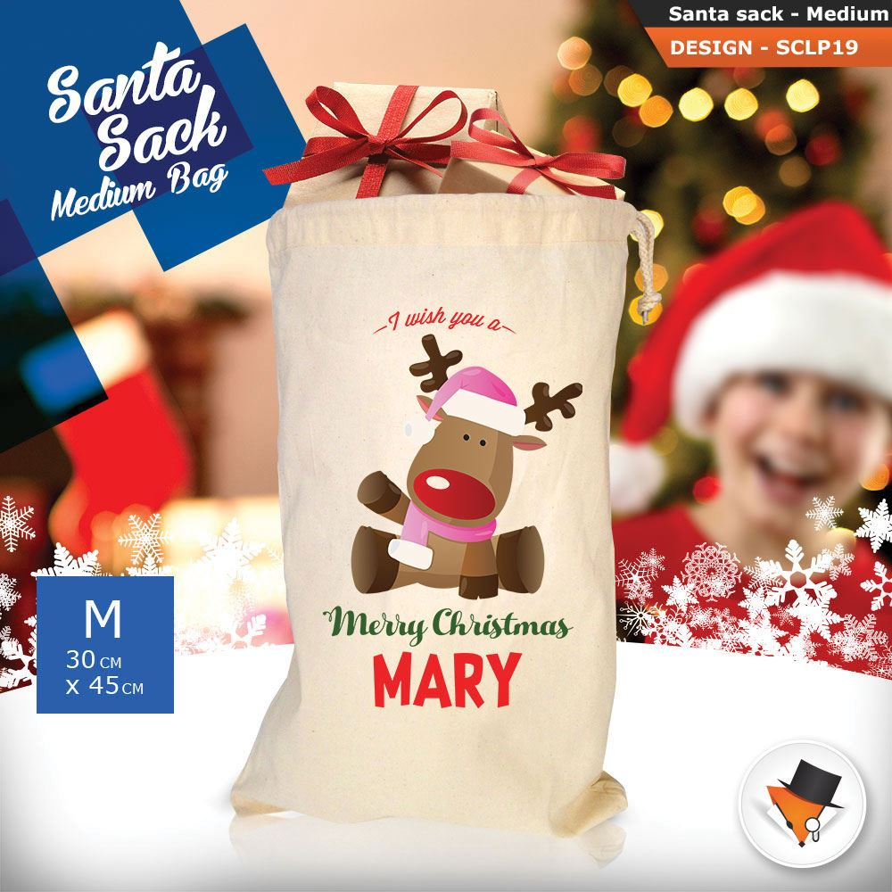 Personalizzato-ragazza-Renna-Natale-Xmas-Babbo-Natale-sacco-per-regalo-calza miniatura 32