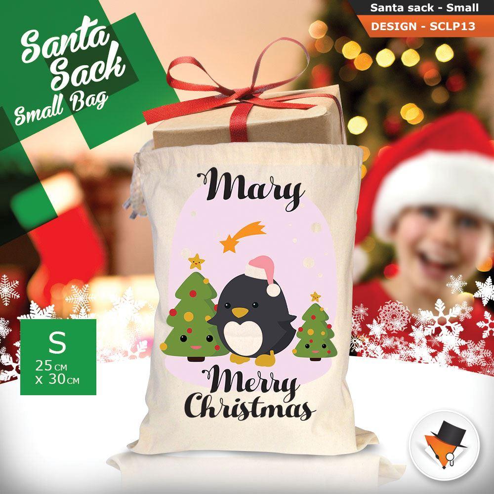 Personalizzato-Per-Bambini-Babbo-Natale-Sacco-Sacchetto-Cartone-Animato-Carina-Renna-Rosso miniatura 8