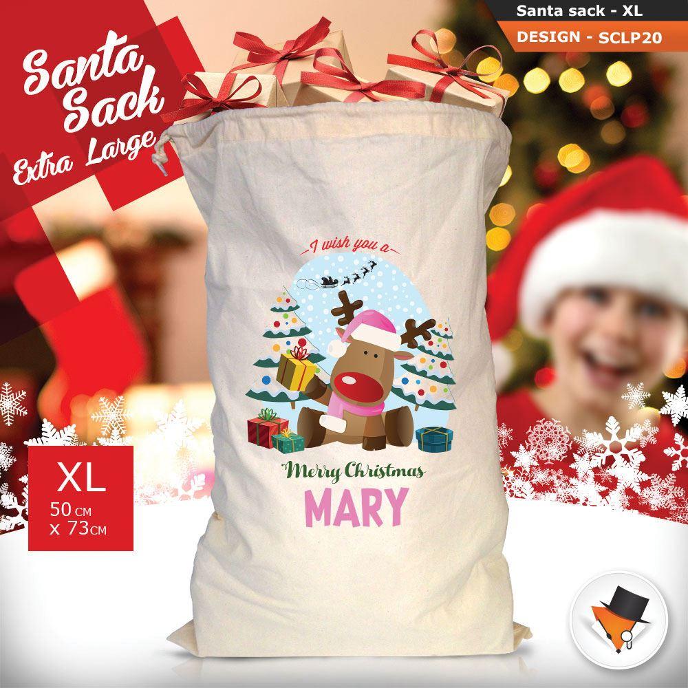 Personalizzato-Per-Bambini-Babbo-Natale-Sacco-Sacchetto-Cartone-Animato-Carina-Renna-Rosso miniatura 37
