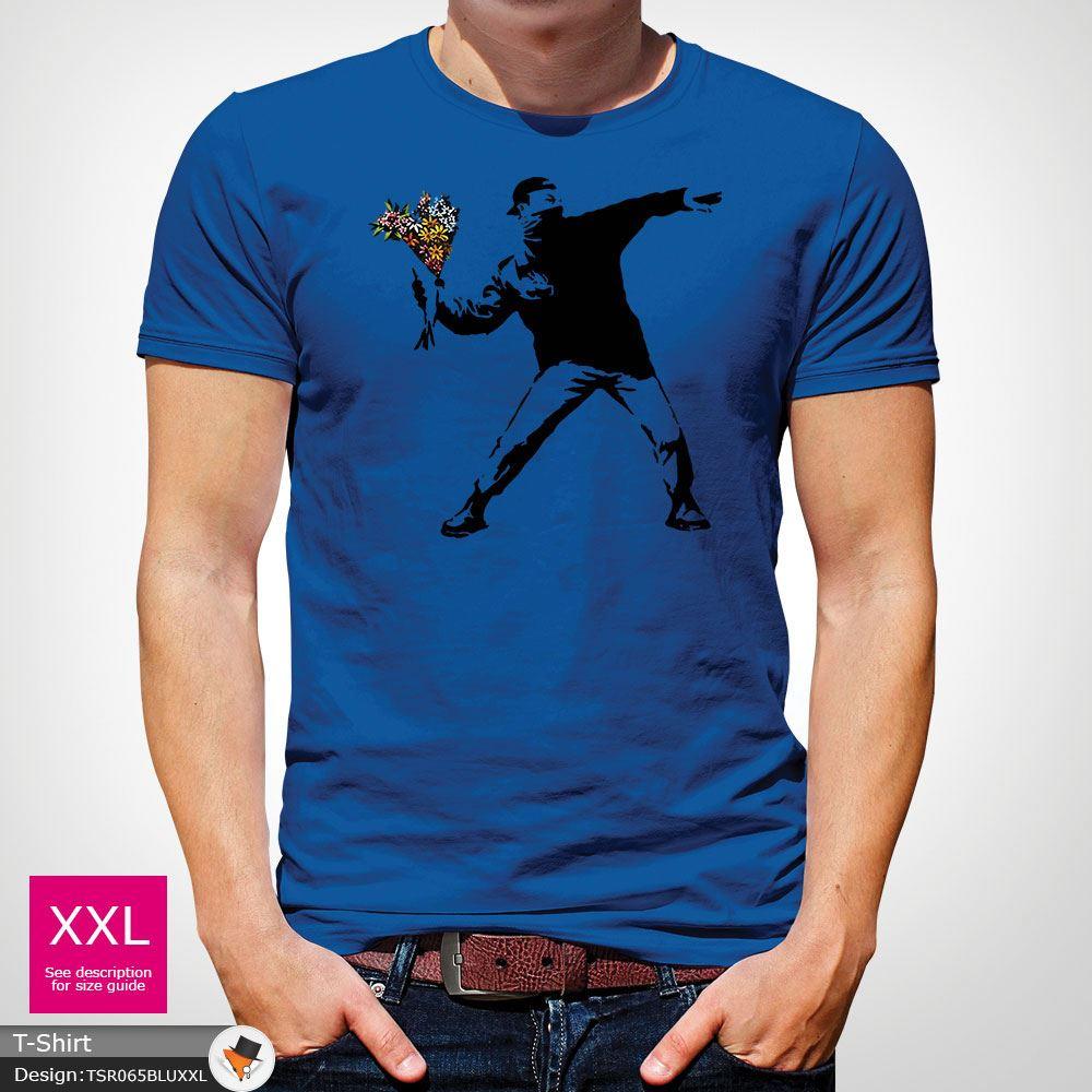 BANKSY-FLOWER-THROWER-STREET-ART-Tshirt-Unisex-T-Shirt-Christmas-Birthday-Blue miniatuur 39