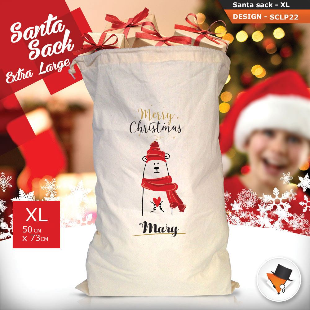 Personalizzato-Per-Bambini-Babbo-Natale-Sacco-Sacchetto-Cartone-Animato-Carina-Renna-Rosso miniatura 46