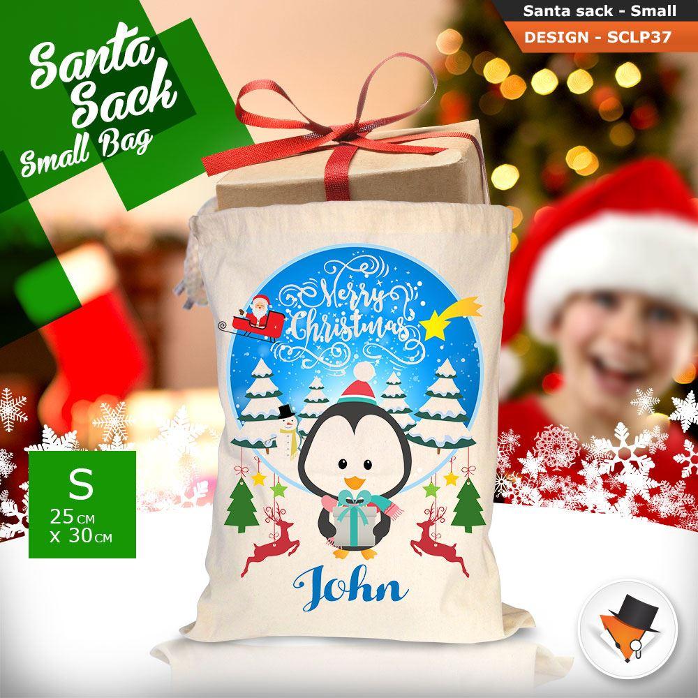 Personalizzato-Per-Bambini-Babbo-Natale-Sacco-Sacchetto-Cartone-Animato-Carina-Renna-Rosso miniatura 106