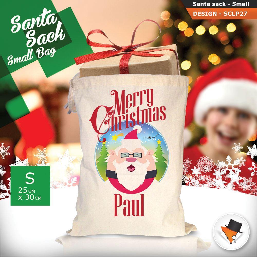 Personalizzato-Per-Bambini-Babbo-Natale-Sacco-Sacchetto-Cartone-Animato-Carina-Renna-Rosso miniatura 65