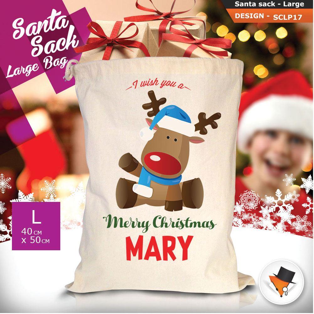 Personalizzato-Per-Bambini-Babbo-Natale-Sacco-Sacchetto-Cartone-Animato-Carina-Renna-Rosso miniatura 24