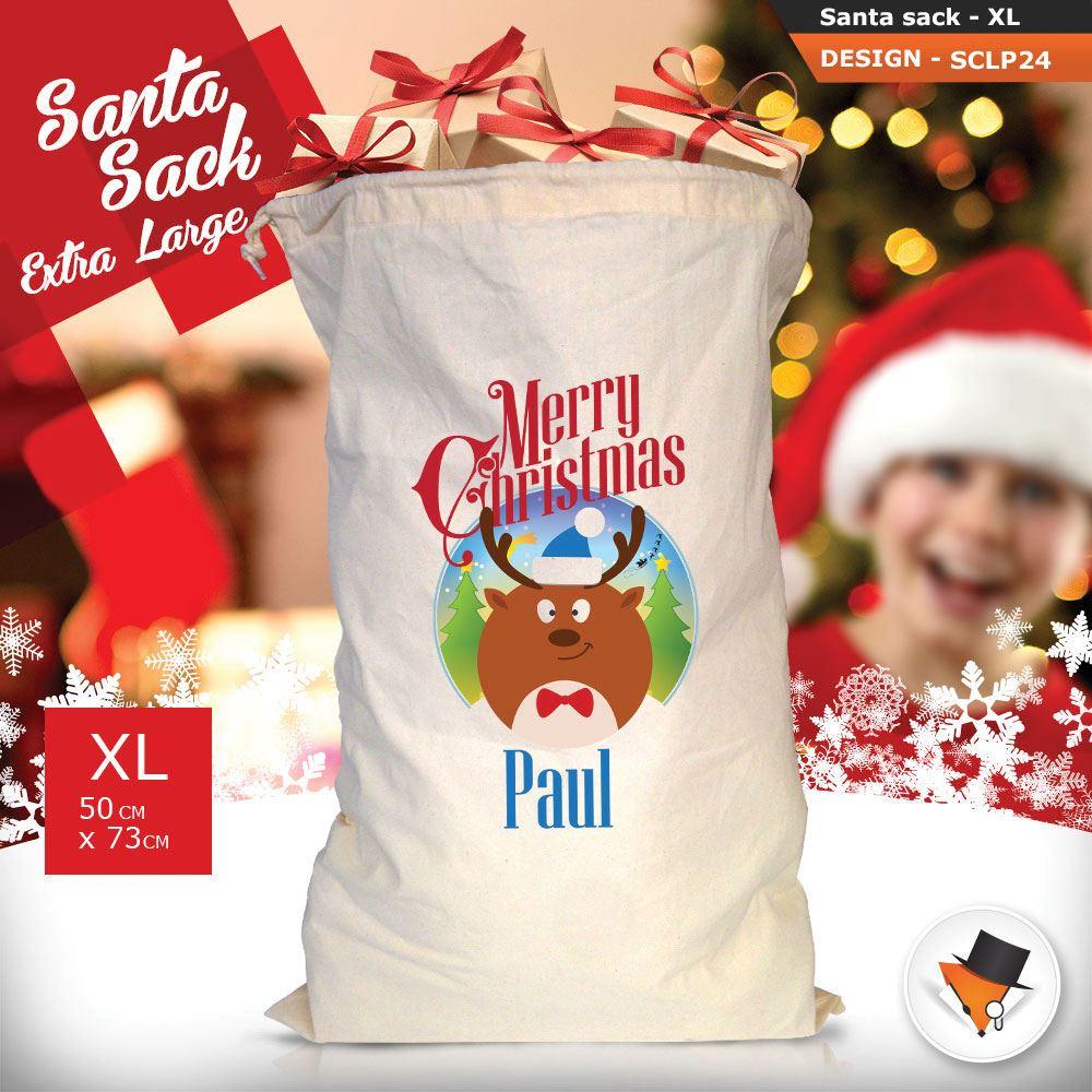 Personalizzato-Per-Bambini-Babbo-Natale-Sacco-Sacchetto-Cartone-Animato-Carina-Renna-Rosso miniatura 52