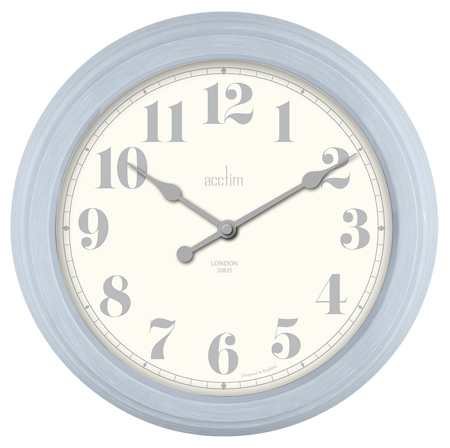 Chester Design Vintage Style Wall Clock In Clear Day Blue Case 35cm