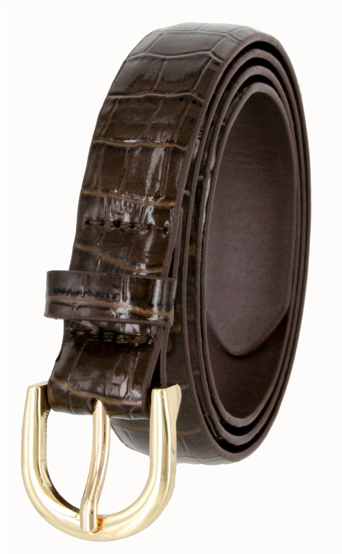 Women-039-s-Skinny-Thin-Alligator-Embossed-Genuine-Leather-Belt-1-034-25mm-Wide thumbnail 10
