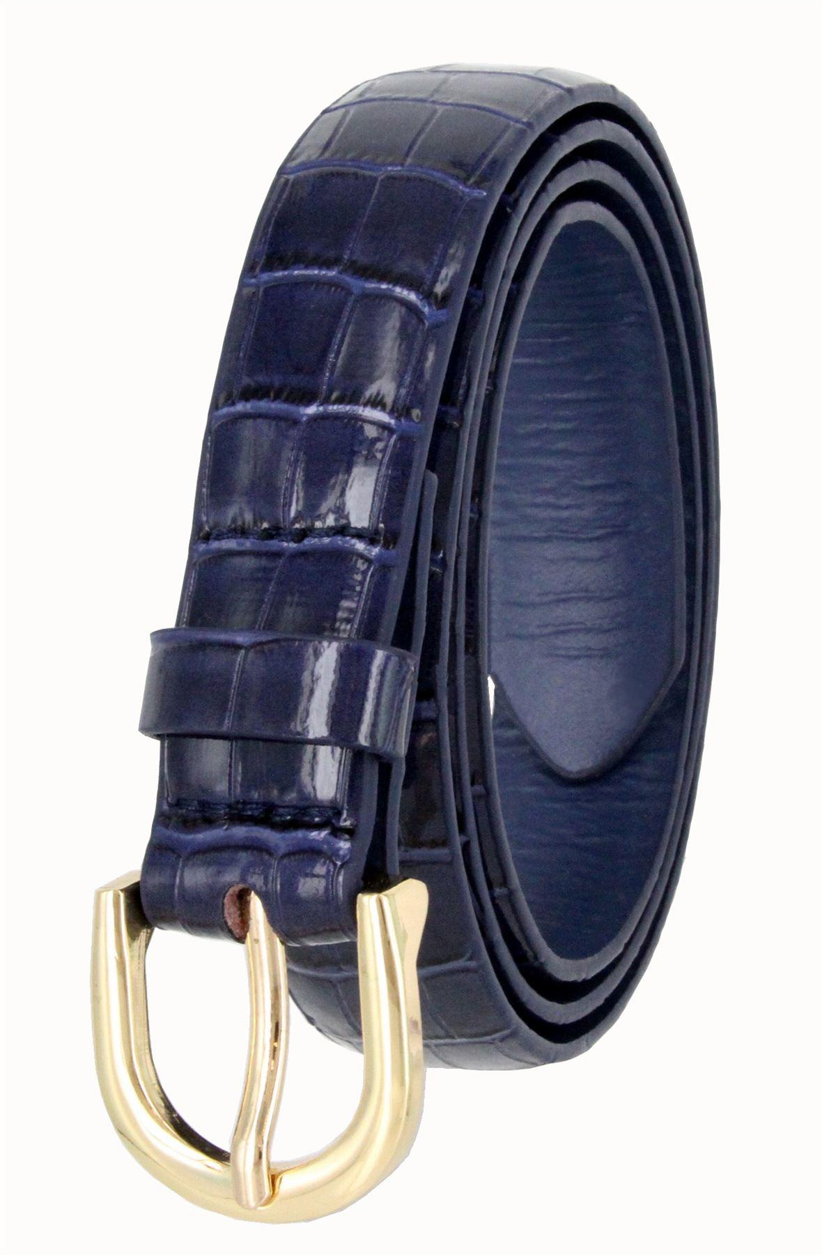 Women-039-s-Skinny-Thin-Alligator-Embossed-Genuine-Leather-Belt-1-034-25mm-Wide thumbnail 13