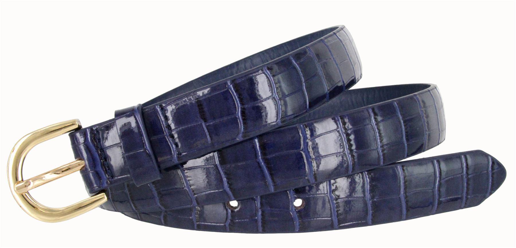 Women-039-s-Skinny-Thin-Alligator-Embossed-Genuine-Leather-Belt-1-034-25mm-Wide thumbnail 12