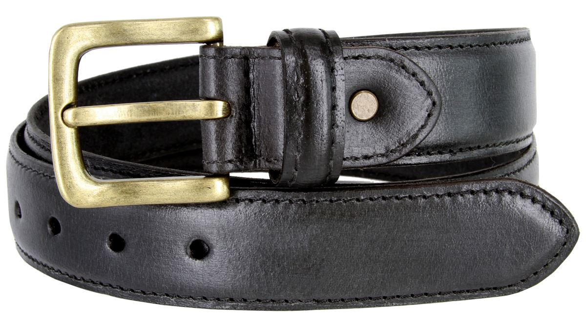 Genuine Bison Leather Casual Dress Belt Made in USA 1-3//8 wide