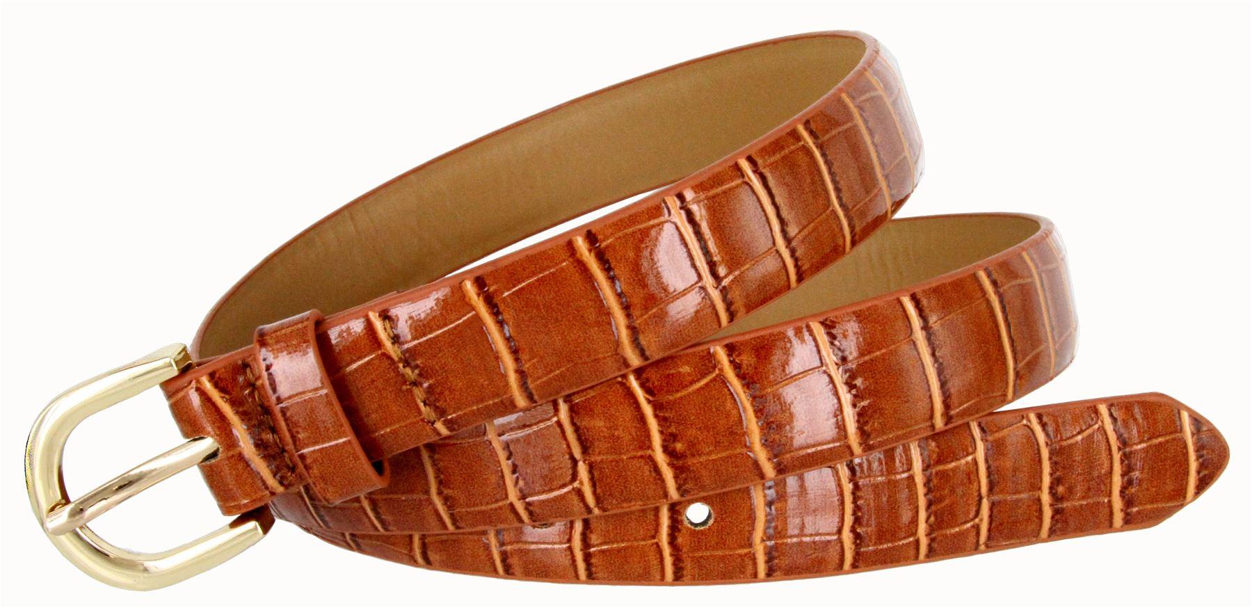Women-039-s-Skinny-Thin-Alligator-Embossed-Genuine-Leather-Belt-1-034-25mm-Wide thumbnail 21
