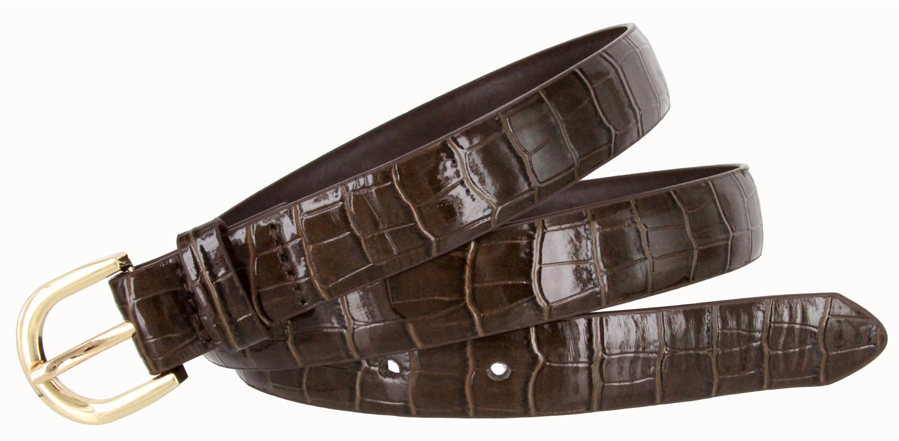 Women-039-s-Skinny-Thin-Alligator-Embossed-Genuine-Leather-Belt-1-034-25mm-Wide thumbnail 9