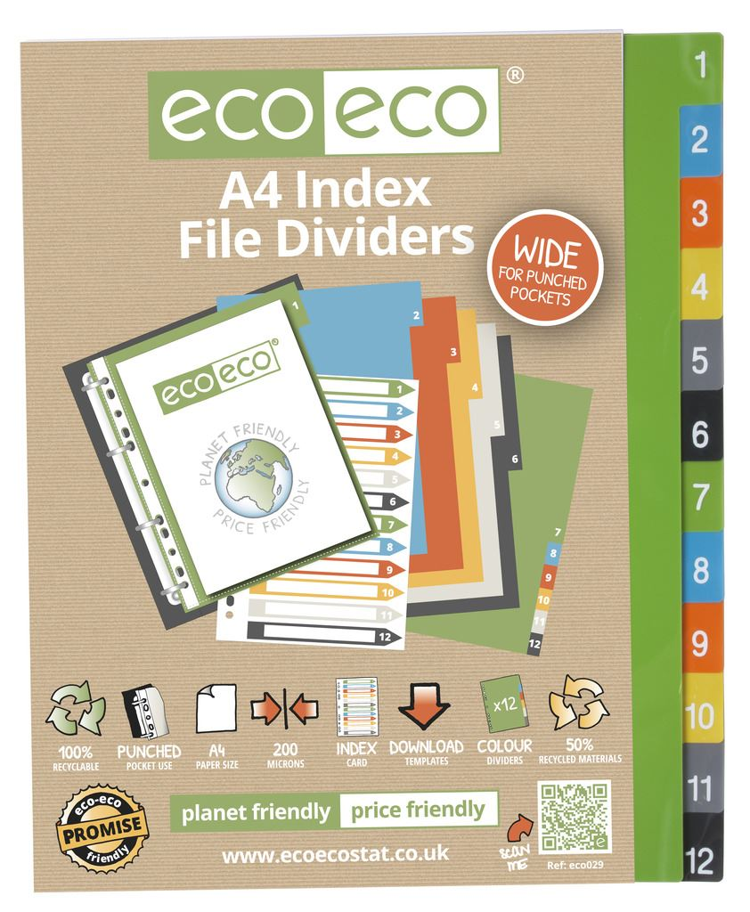 Details about eco-eco Stationery Recycled Plastic Index File Tabbed  Dividers - ALL TYPES