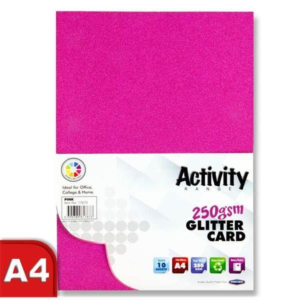 Xmas Colours 40 Sheet Pk Craft A4 250gsm Sparkle Glitter Card Premier Art