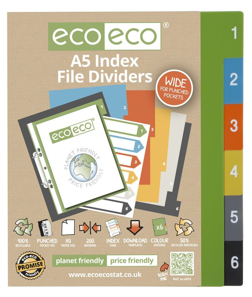 Eco Eco Stationery Recycled Plastic Index File Tabbed Dividers All