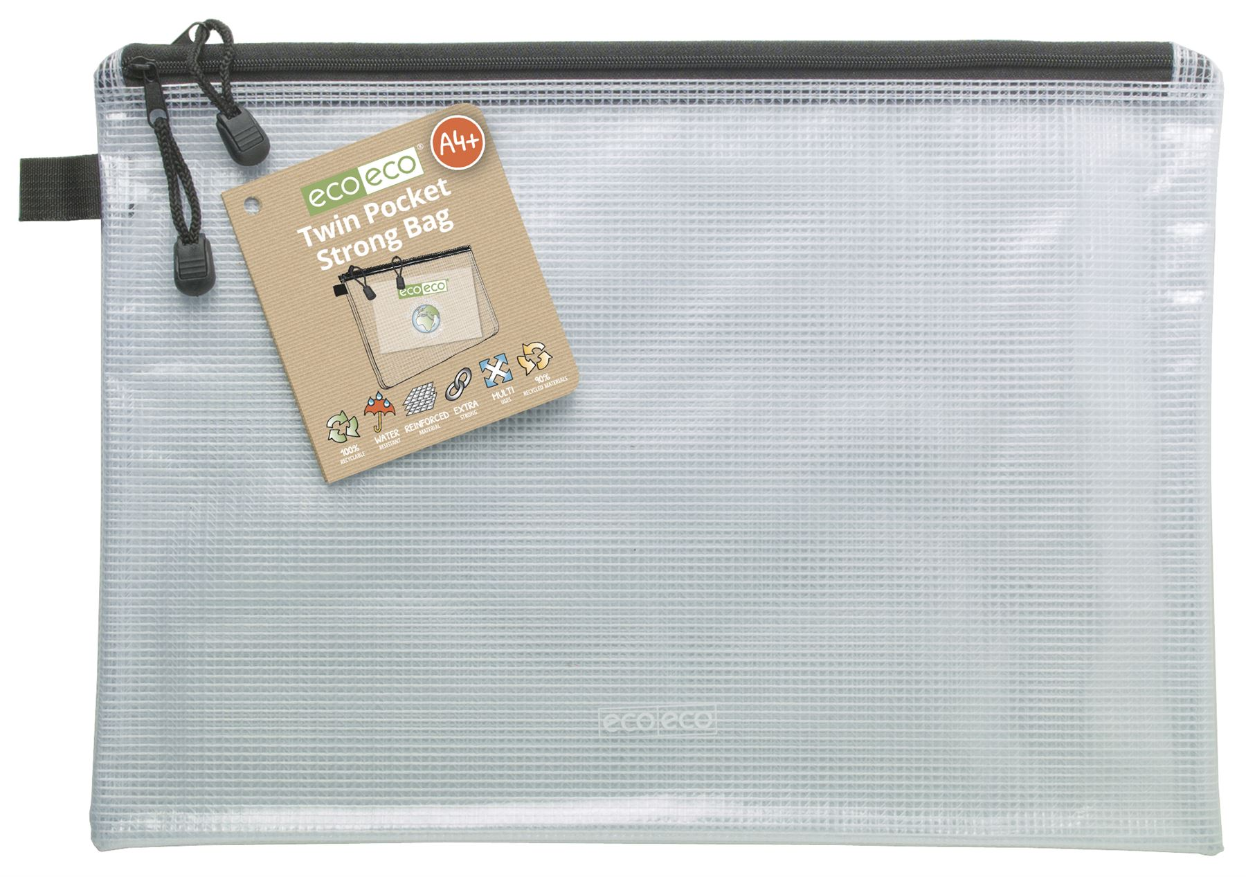 95/% Recycled Super Strong Bag Clear Mesh Tuff Case Zip 4 x eco-eco A4