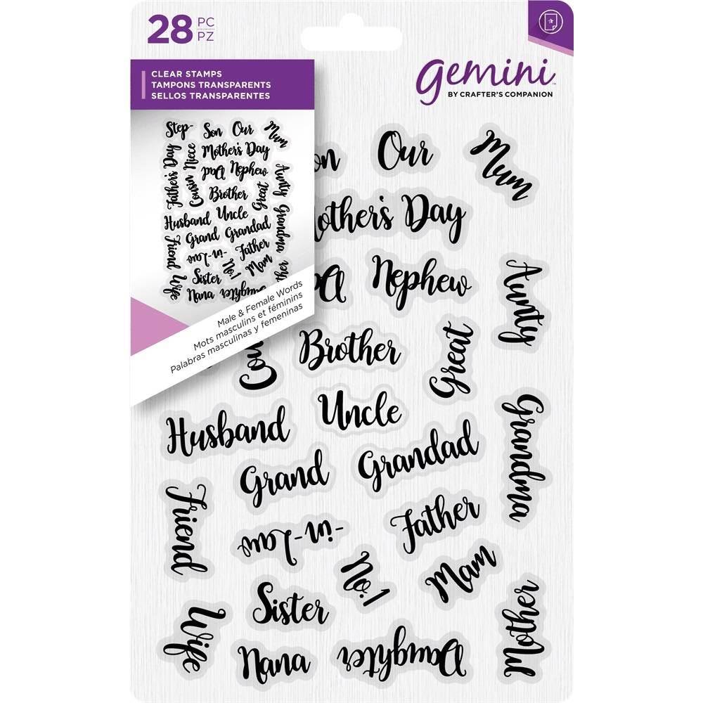 Gemini A6 Clear Craft Script Unmounted Stamp Male /& Female Words