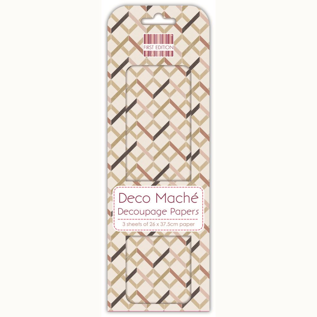 Zig Zag Geometric Deco Mache x 3 Tissue Patch Paper Sheet First Edition Craft