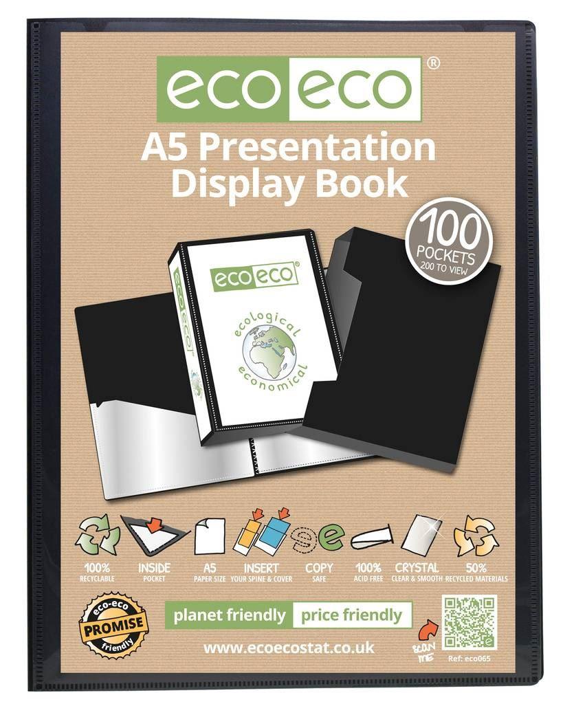 12 x eco-eco A5 50/% Recycled 20 Pocket Black Folder Presentation Display Book
