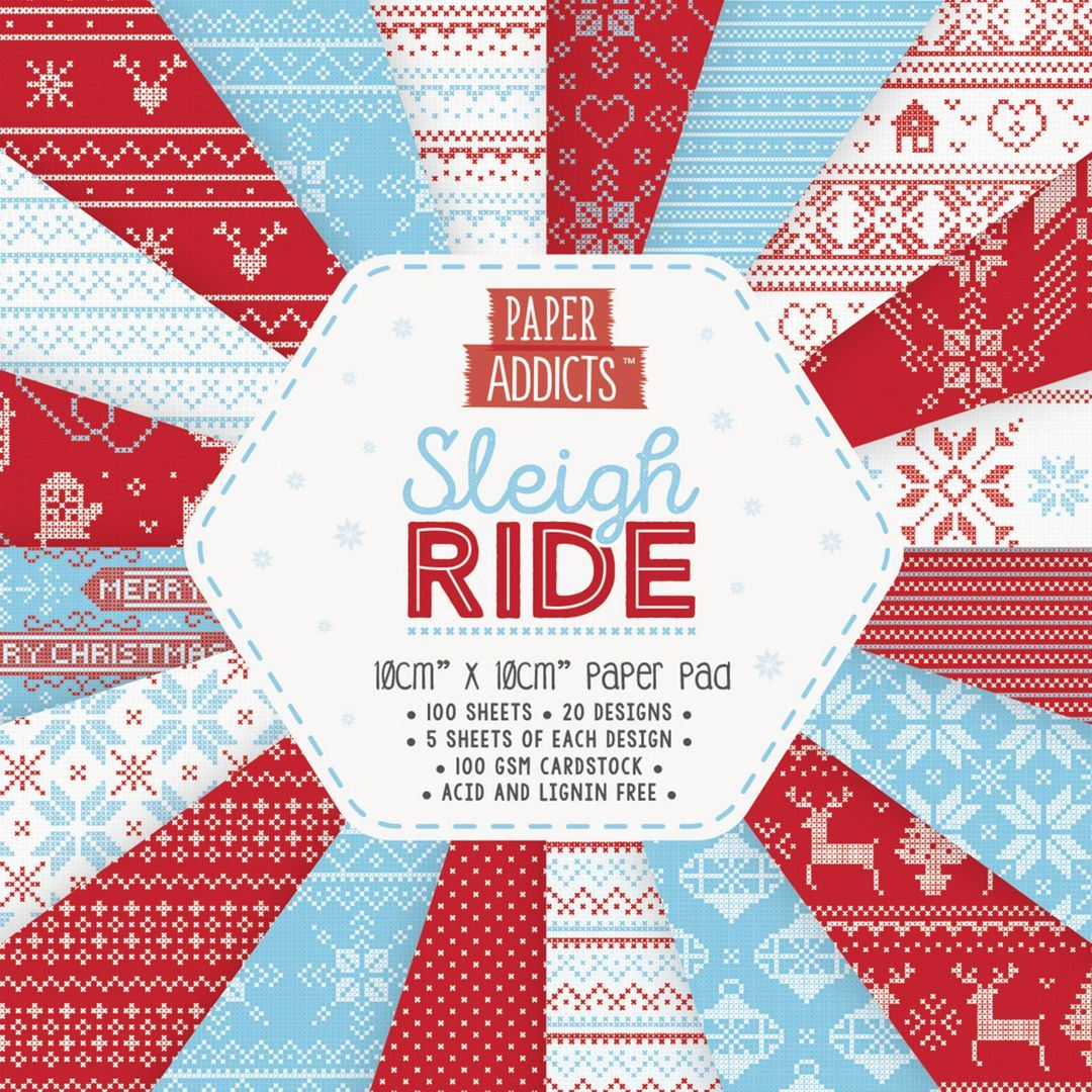 Card Craft Paper Pad 10cmx10cm Dovecraft Paper Addicts Sleigh Ride