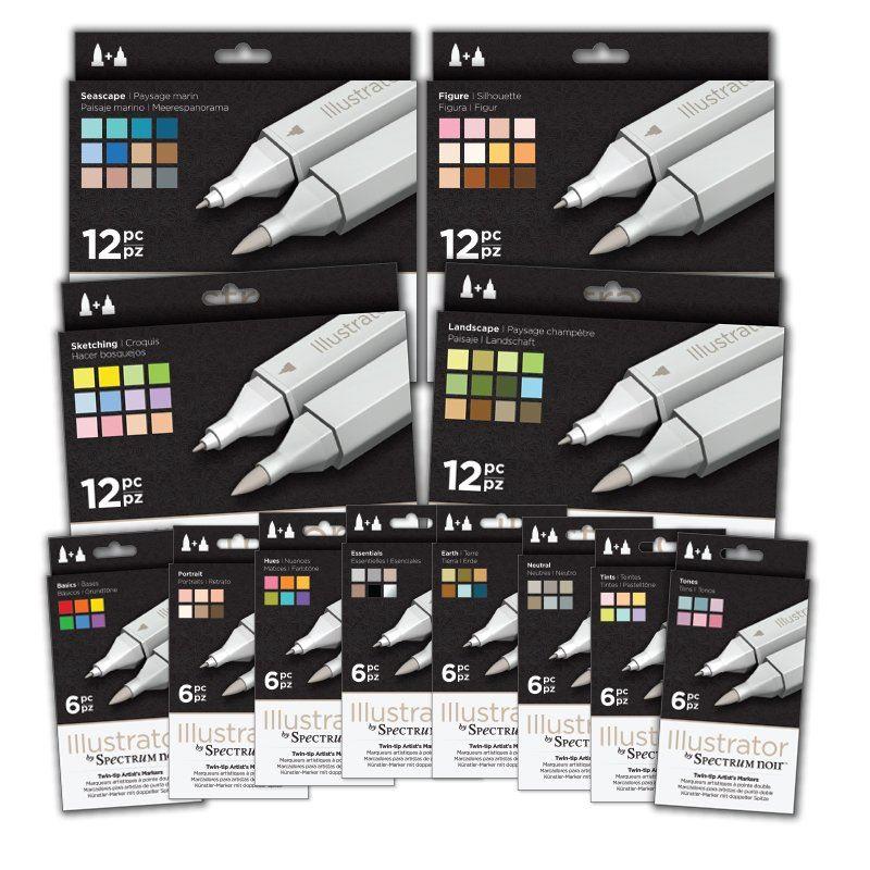 Art+Craft Alcohol Marker Pen Graphic Nib Set Essentials 6pk Spectrum Noir