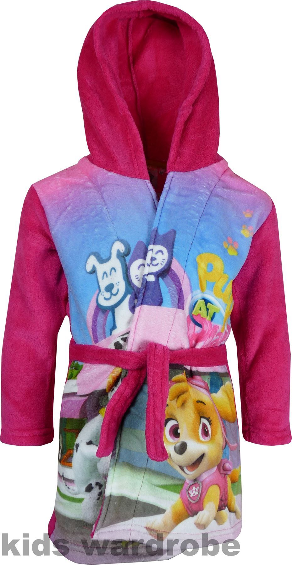 Girls DHQ2100 Paw Patrol Fleece Hooded Dressing Gown   Robe Size  3-6  Years  Picture 2 of 2 75e7da755