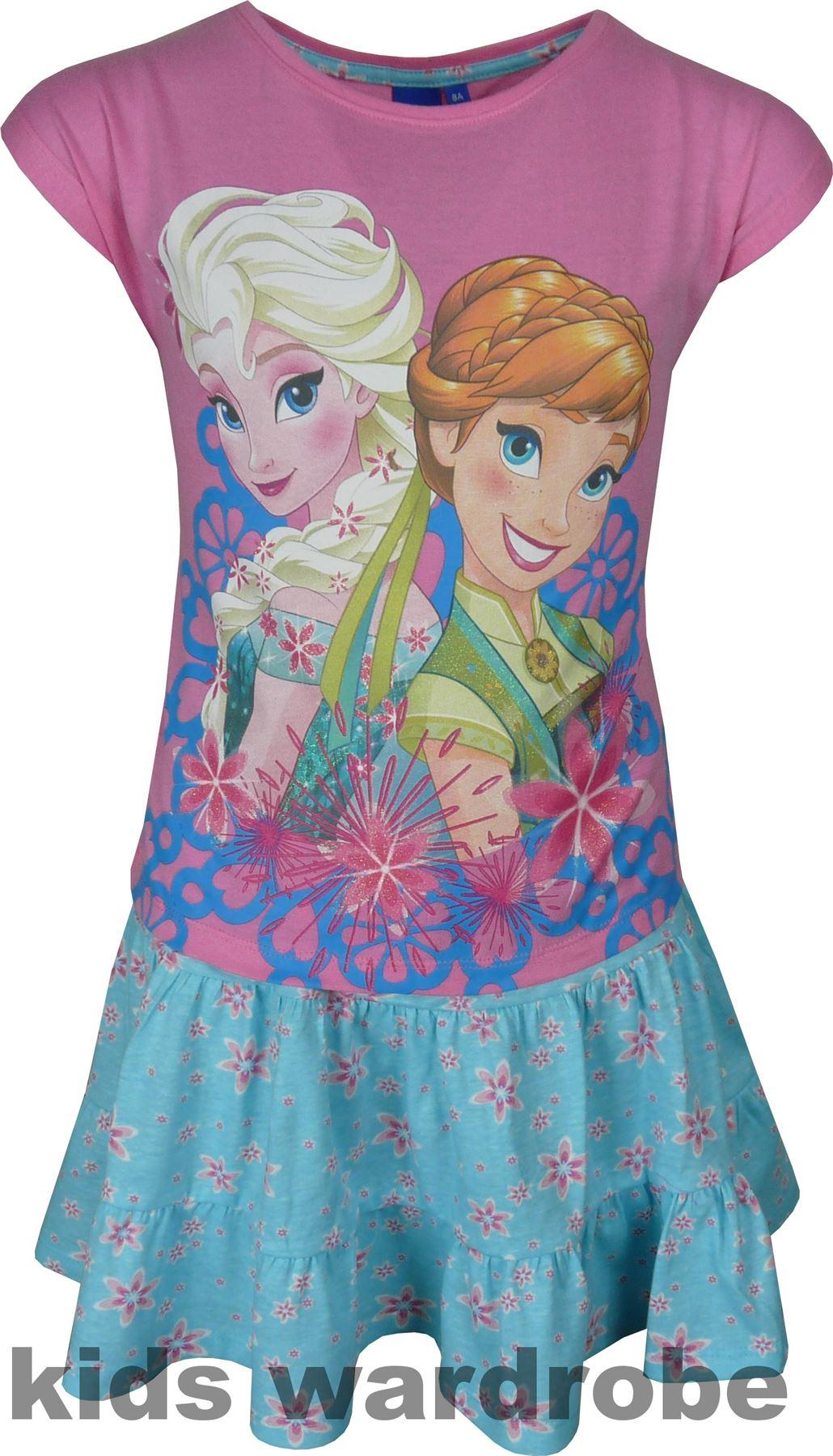 Fille-Disney-Frozen-Ensemble-manches-courtes-T-shirt-et-jupe-4-8-ans-ete-2017