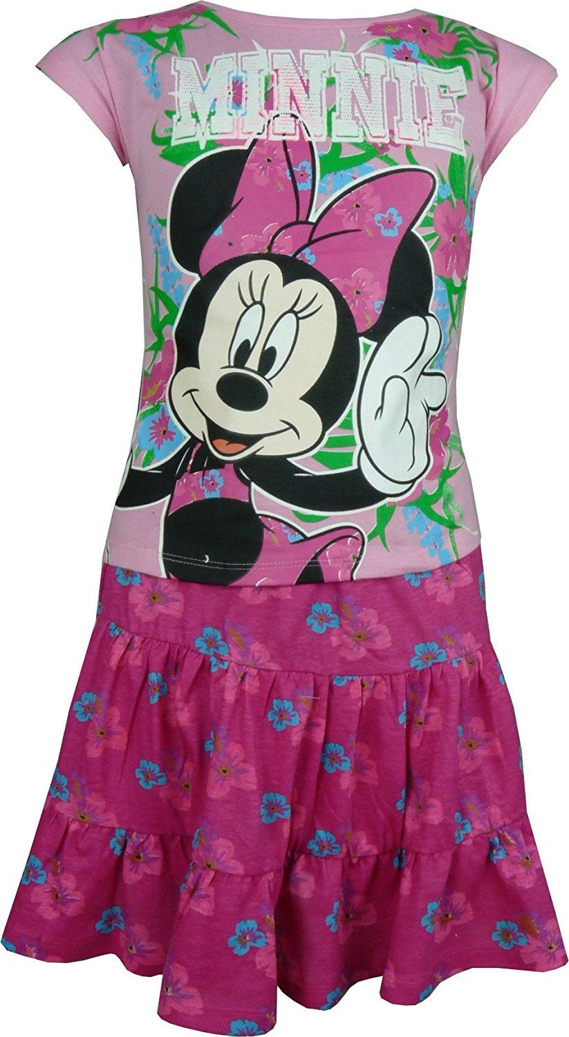 Fille-Disney-Minnie-Mouse-Ensemble-d-039-ete-T-shirt-Top-amp-Jupe-Taille-3-8-ans