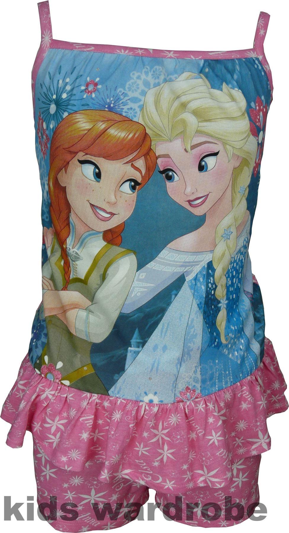 Filles-Disney-Frozen-Anna-amp-Elsa-Sans-manches-Pyjama-Taille-4-8-ans