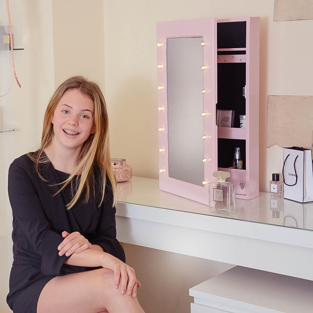 Desktop Mirror Jewellery Cabinet with LED Lights Makeup Storage Wall Mounted