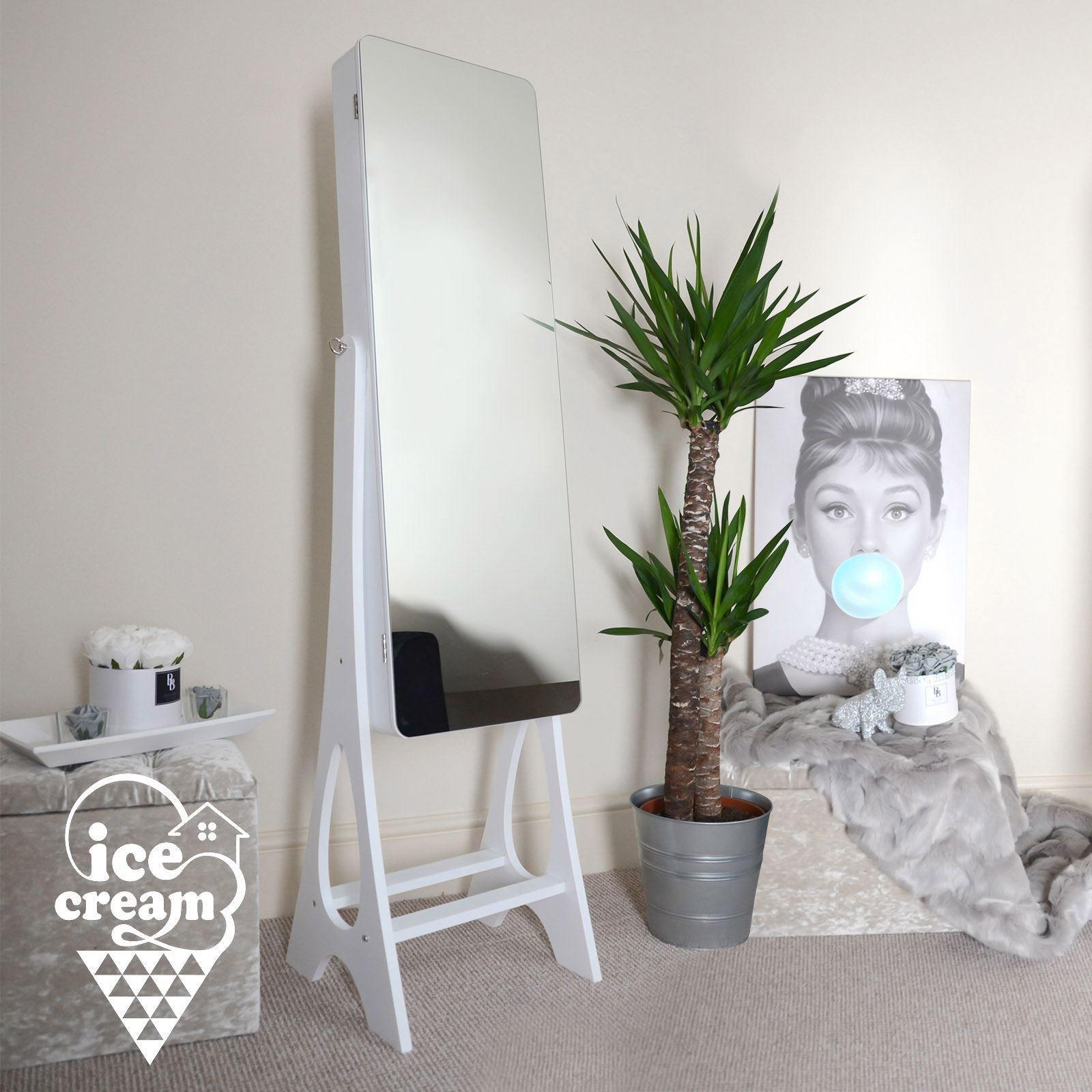 Deluxe Standing Full Length Mirror Cabinet Internal LED ...
