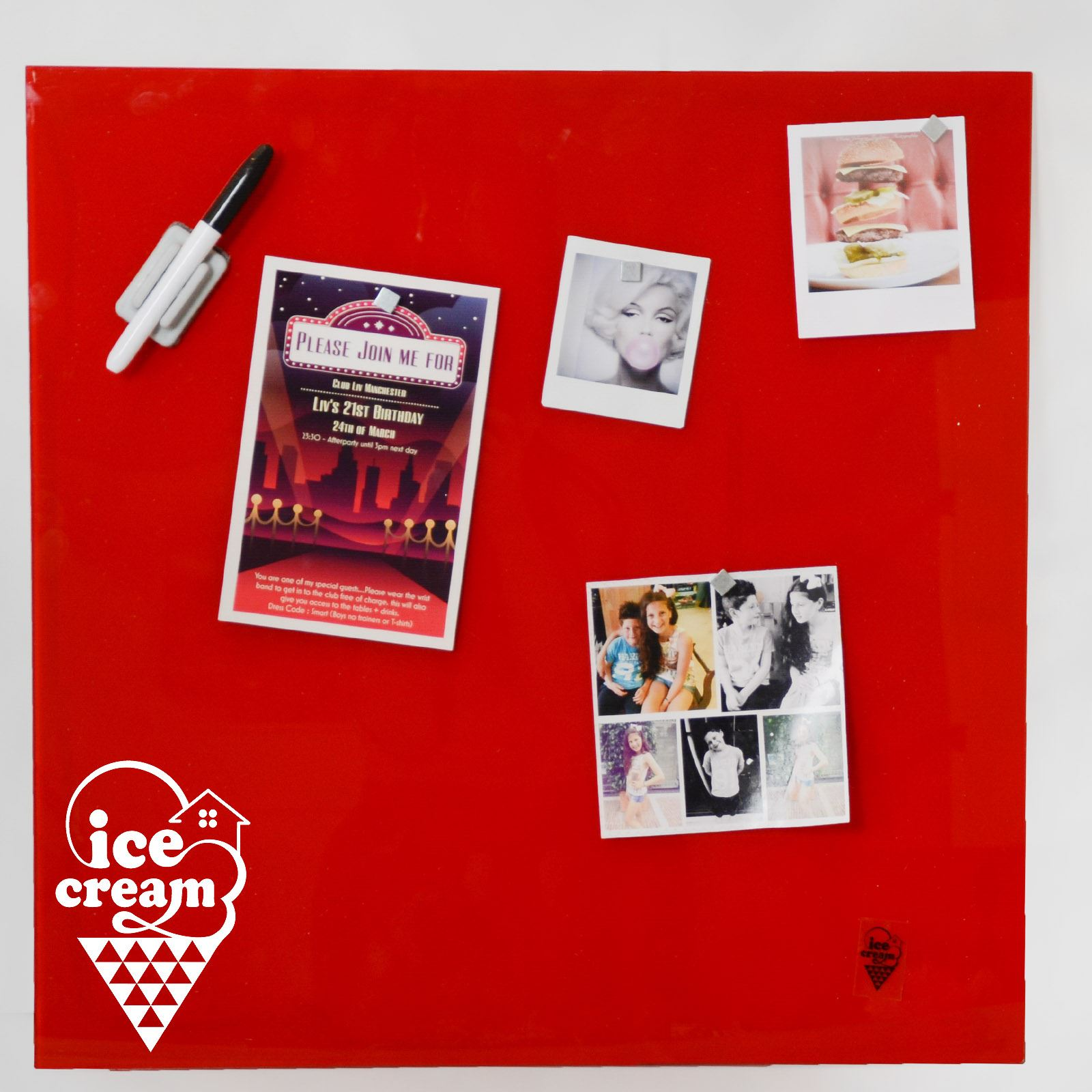 Details about Red Wall Mounted Glass Memo Board For Pictures Invitations  Reminders with Pen