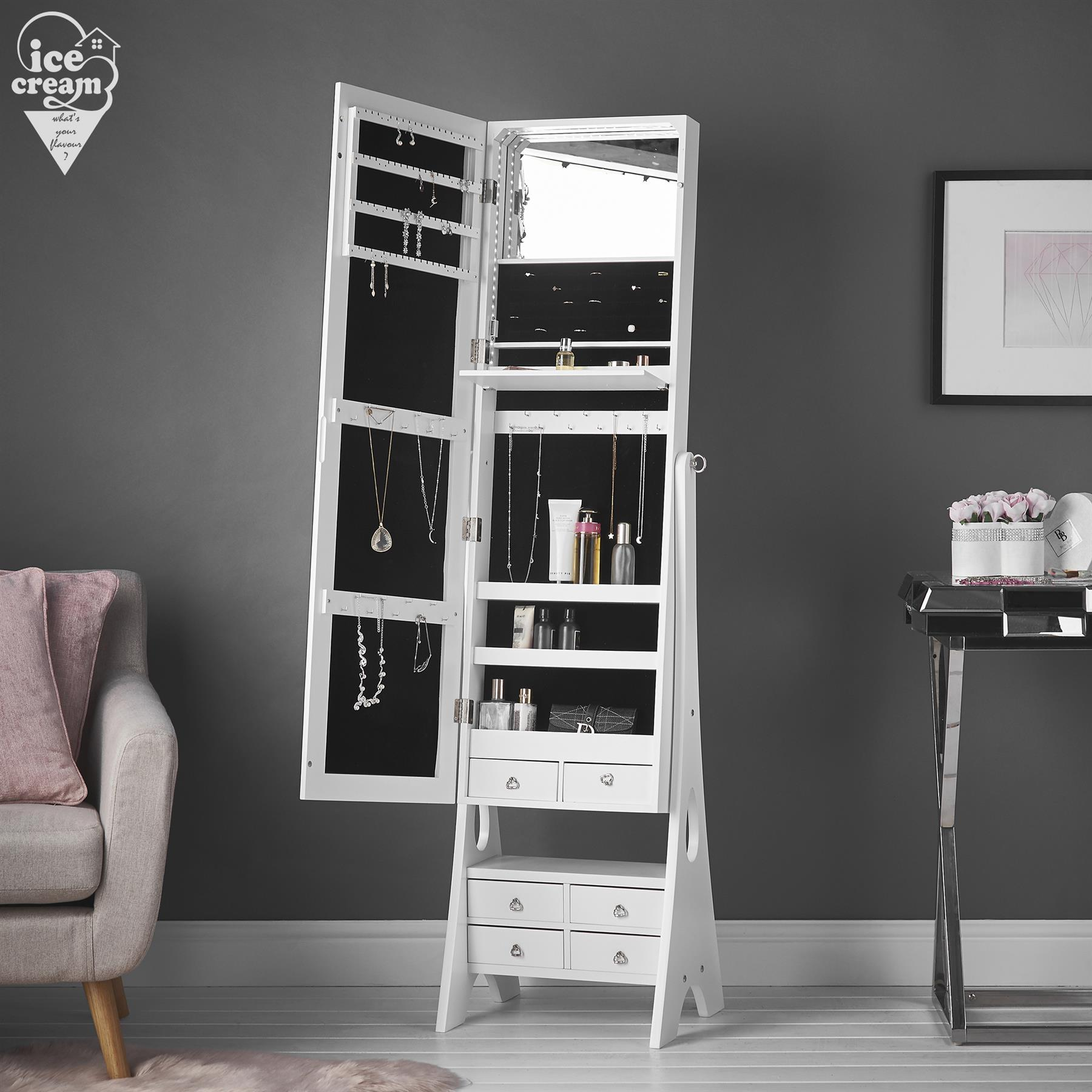 White Jewellery Mirror Cabinet with Internal LED Lights ...