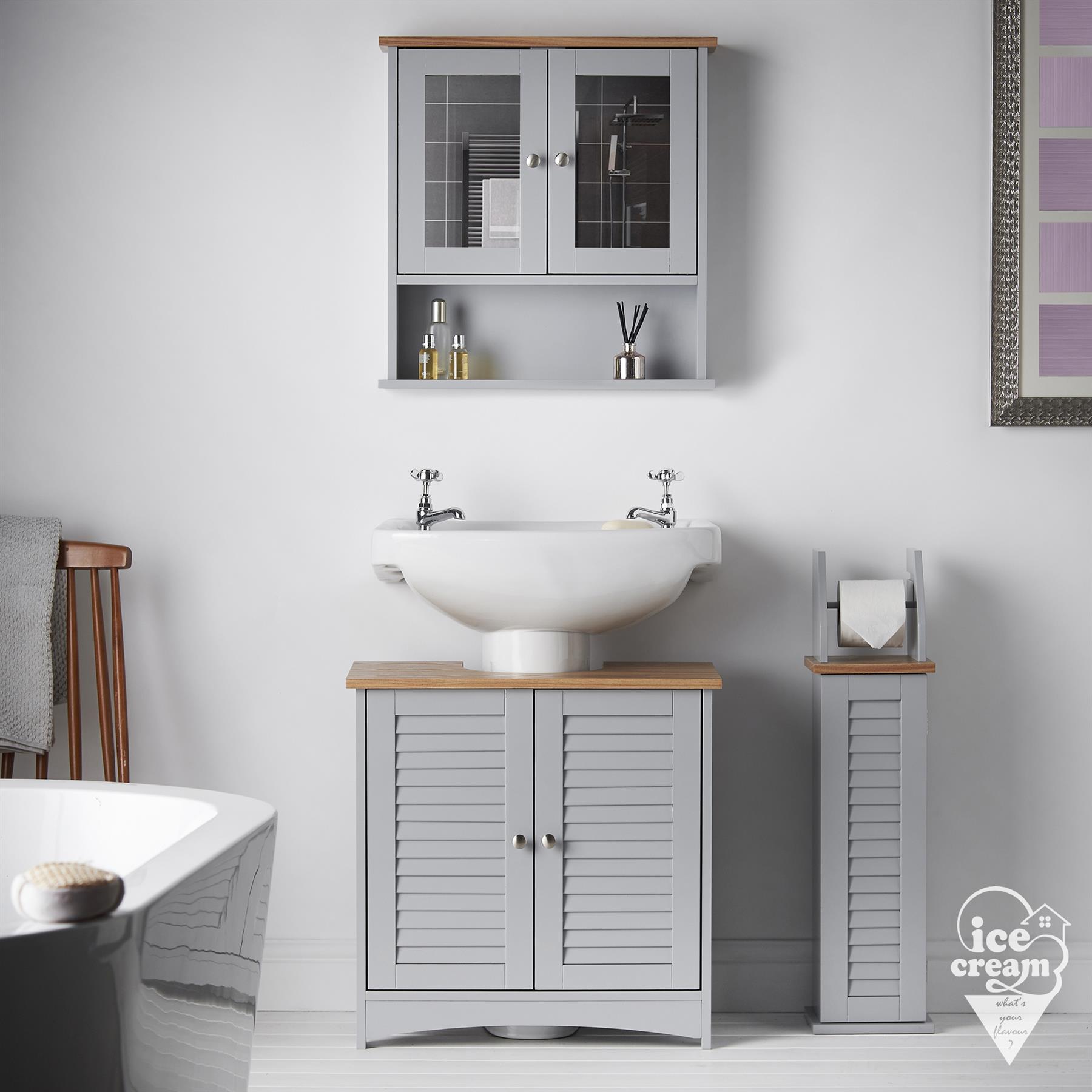 Grey Bathroom Furniture 3 Piece Set Mirrored Cabinet Vanity Unit Floor Storage 5060635721324 Ebay