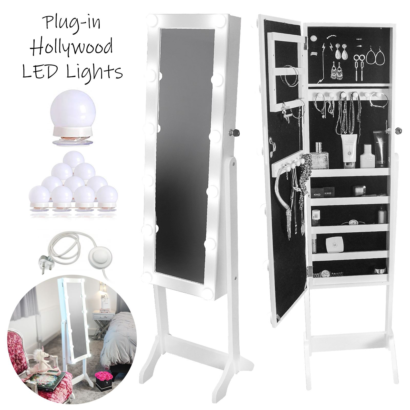 White Standing Luxury Jewellery Mirror Cabinet Hollywood ...