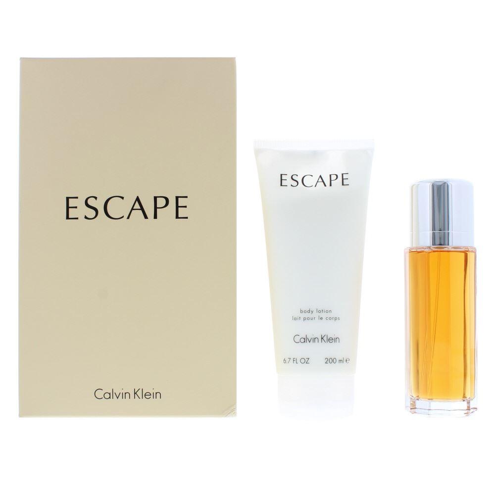 94bfe170fd5 Details about Calvin Klein Escape Eau de Parfum 100ml & Body Lotion 200ml  Gift Set For Her NEW
