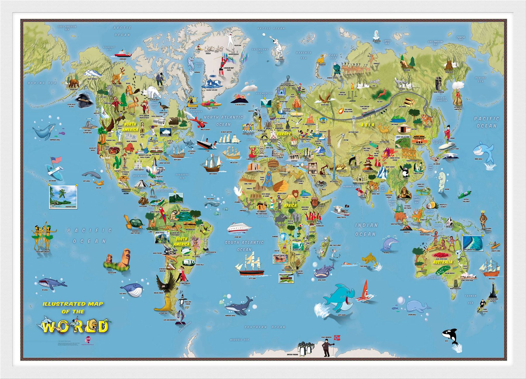 Kids Cartoon World Map Poster Print Art Map