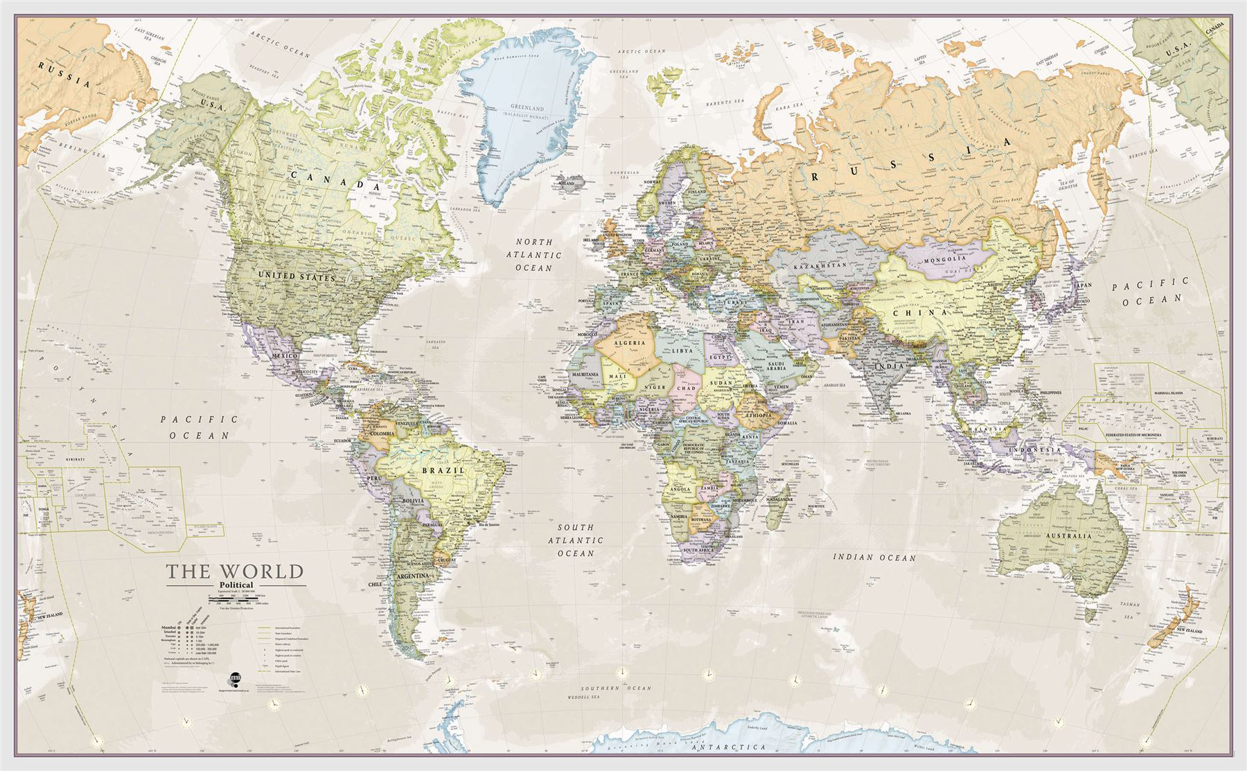 Classic World Map Poster Print Art Map For