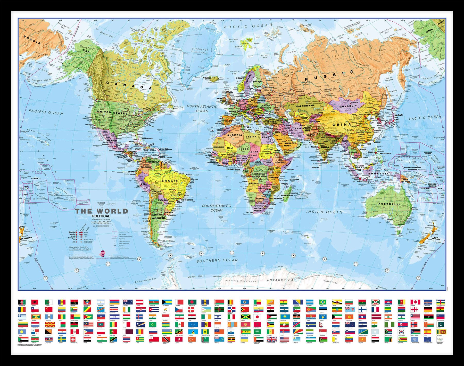 World wall map political poster with flags poster with size finish world wall map political poster with flags poster gumiabroncs Gallery