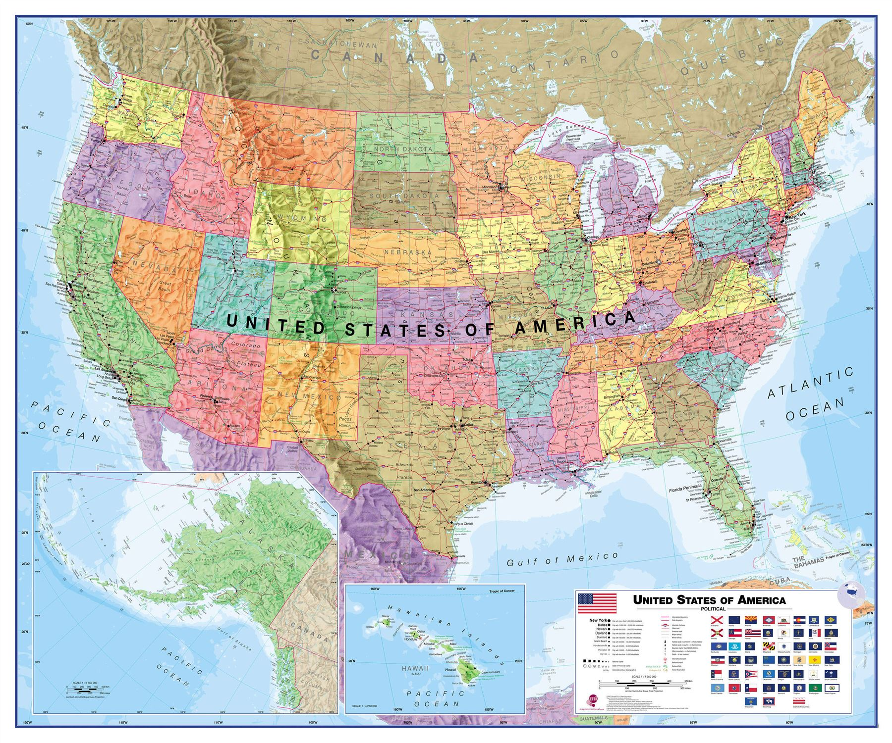 Usa wall map political print poster office study classroom usa wall map political print poster office study classroom various finishes gumiabroncs Choice Image