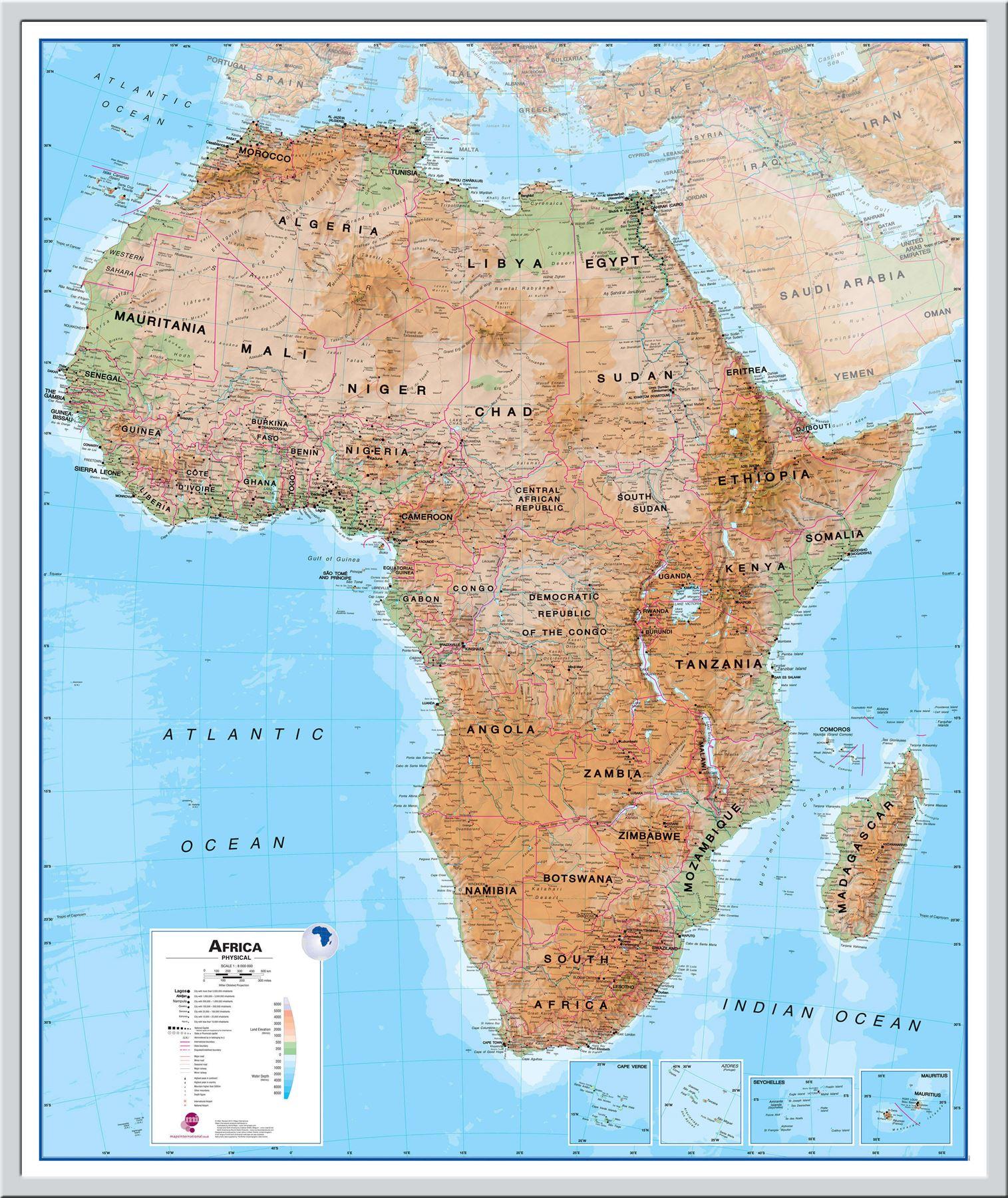 Poster 61 x 91.5 cm Afrika-Karte
