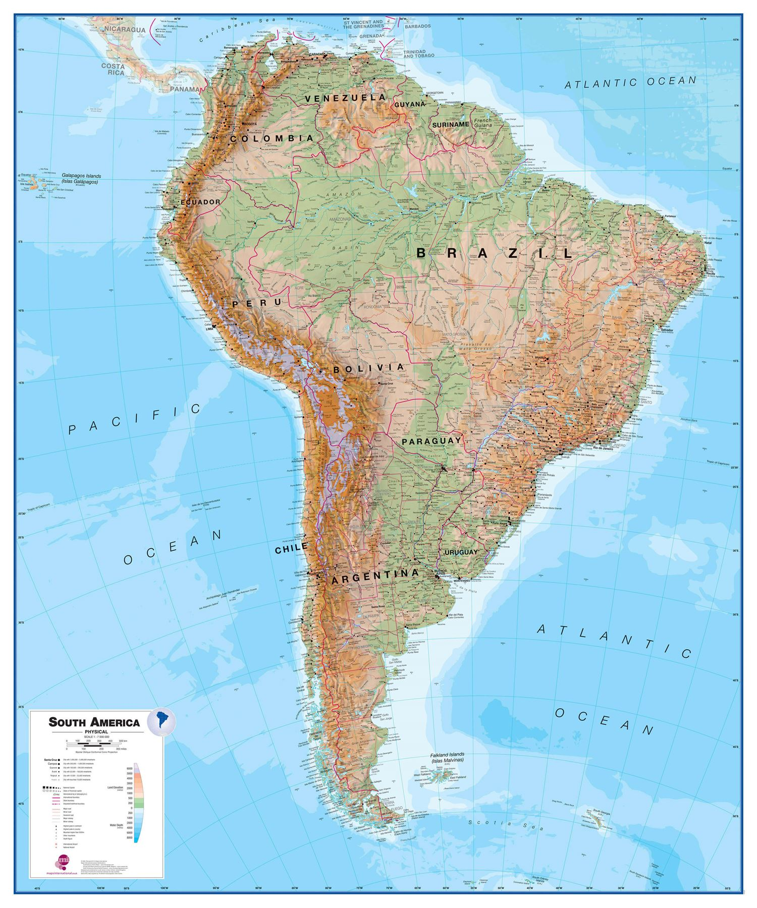 South America Physical Map for Office - Rollerblind, Acrylic ...