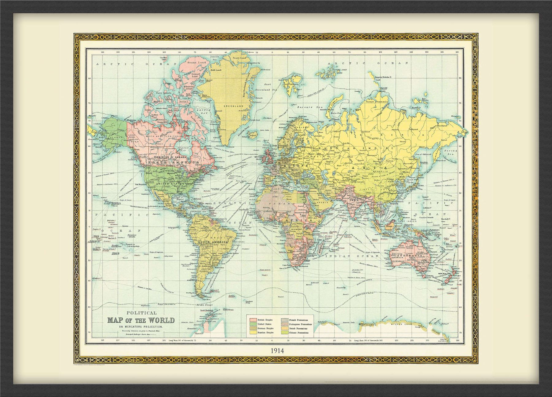 Vintage bartholomew political world map 1914 poster with size vintage bartholomew political world map 1914 poster with gumiabroncs Choice Image