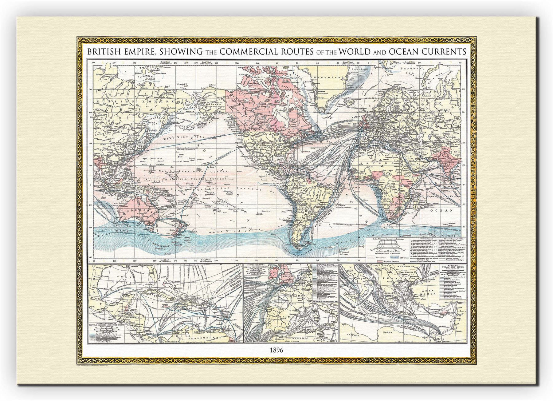 Vintage british empire world map 1896 poster wall art with size vintage british empire world map 1896 poster wall gumiabroncs Gallery